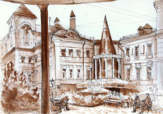 Тургеневская библиотека, рисунок Анастасии Кислюк